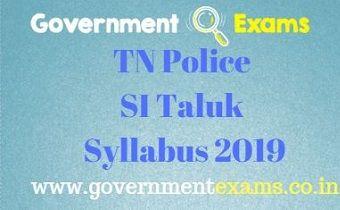 TN Police SI Taluk Syllabus