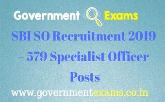 SBI SO Recruitment 2019