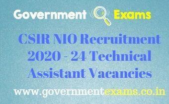CSIR NIO Recruitment 2020