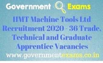 HMT Machine Tools Ltd Recruitment 2020