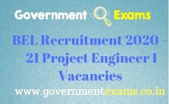 BEL Project Engineer I Recruitment 2020
