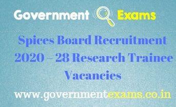 Spices Board Recruitment 2020