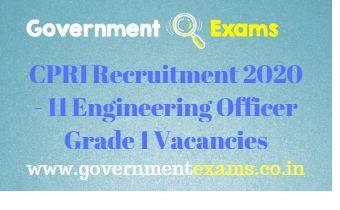 CPRI Engineering Officer Gr 1 Recruitment 2020