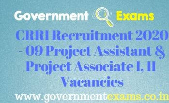 CRRI Project Assistant and Project Associate Recruitment 2020