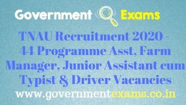 TNAU Recruitment 2020