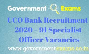 UCO Bank Specialist Officer Recruitment 2020