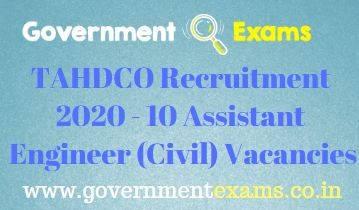 TAHDCO Assistant Engineer Recruitment 2020