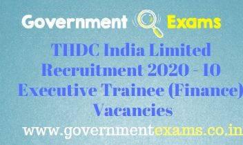 THDC India Executive Trainee Recruitment 2020
