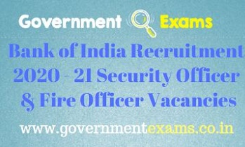 BOI Security Fire Officer Recruitment 2020