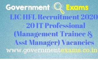 LIC HFL IT Professional Recruitment 2020