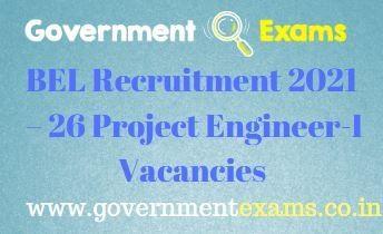BEL Hyderabad Project Engineer I Recruitment 2021
