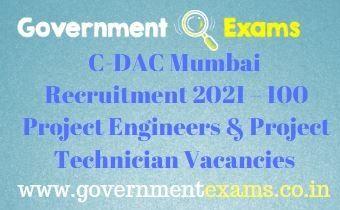 C-DAC Mumbai Project Engineers Technician Recruitment 2021