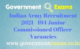 Indian Army Junior Commissioned Officer Recruitment 2021