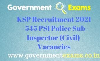 KSP PSI Police Sub-Inspector Recruitment 2021