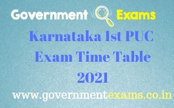 Karnataka 1st PUC Exam Time Table 2021