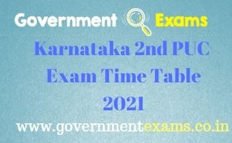 Karnataka 2nd PUC Exam Time Table 2021