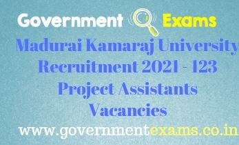 Madurai Kamaraj University Project Assistants Recruitment 2021