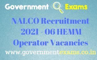 NALCO HEMM Operator Recruitment 2021