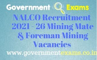 NALCO Mining Mate Foreman Mining Recruitment 2021