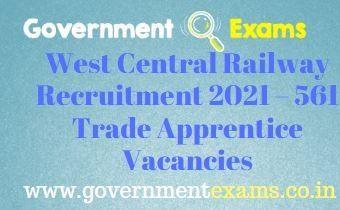 West Central Railway Trade Apprentice Recruitment 2021