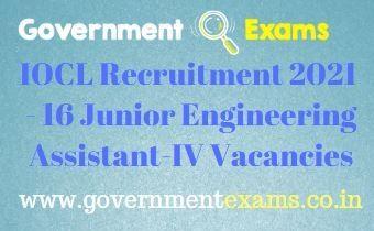 IOCL Junior Engineering Assistant IV Recruitment 2021