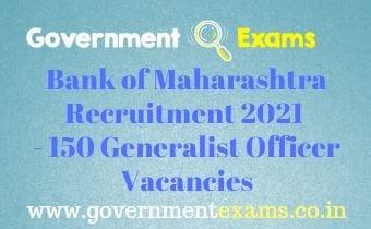 Bank of Maharashtra Generalist Officer Recruitment 2021