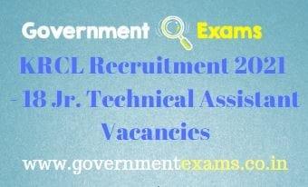 KRCL Jr Technical Assistant Recruitment 2021