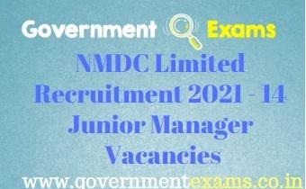 NMDC Ltd Junior Manager Recruitment 2021