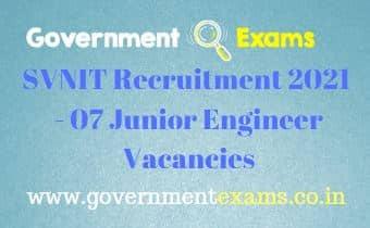 SVNIT Junior Engineer Recruitment 2021