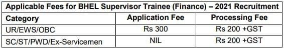 BHEL Supervisor Trainee Application fee 2021