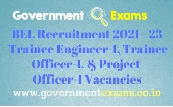 BEL Trainee Engineer Project Officer Recruitment 2021